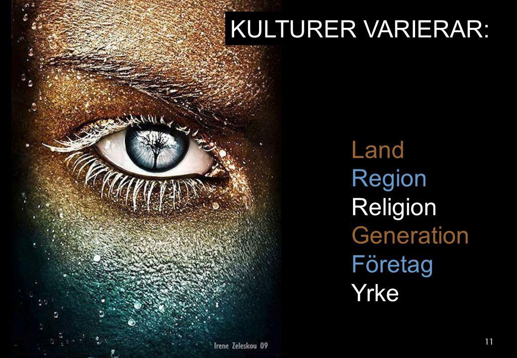 KULTURER VARIERAR: Land Region Religion Generation Företag Yrke 11 11