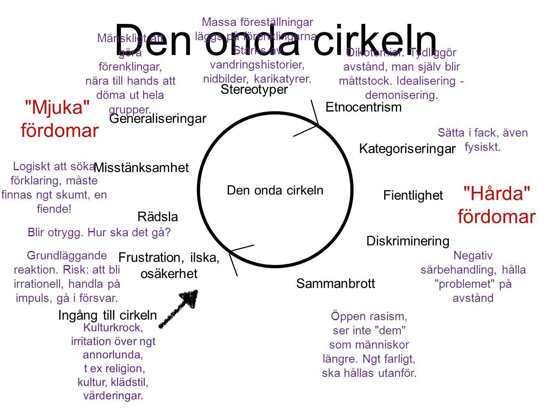 Den onda cirkeln Mjuka fördomar Hårda fördomar Stereotyper