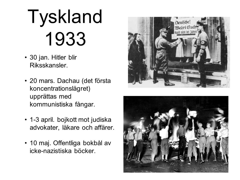 Tyskland 1933 30 jan. Hitler blir Riksskansler.