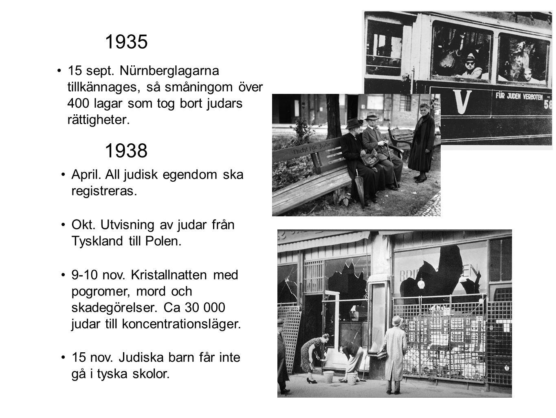 15 sept. Nürnberglagarna tillkännages, så småningom över 400 lagar som tog bort judars rättigheter.
