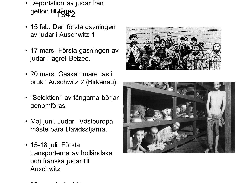 1942 Deportation av judar från getton till läger.