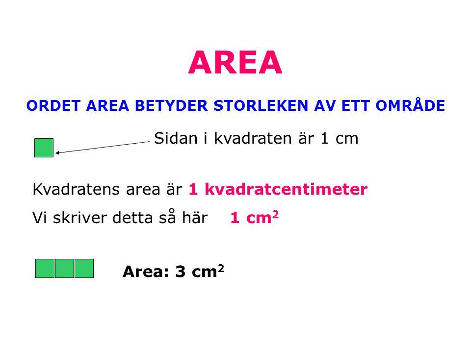 ORDET AREA BETYDER STORLEKEN AV ETT OMRÅDE