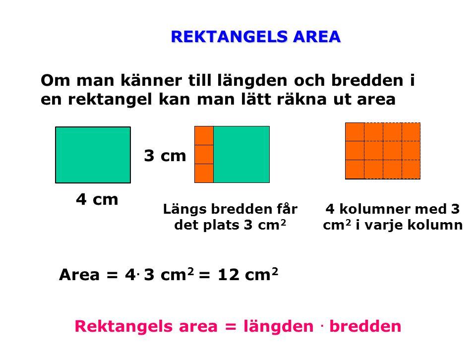 Rektangels area = längden . bredden