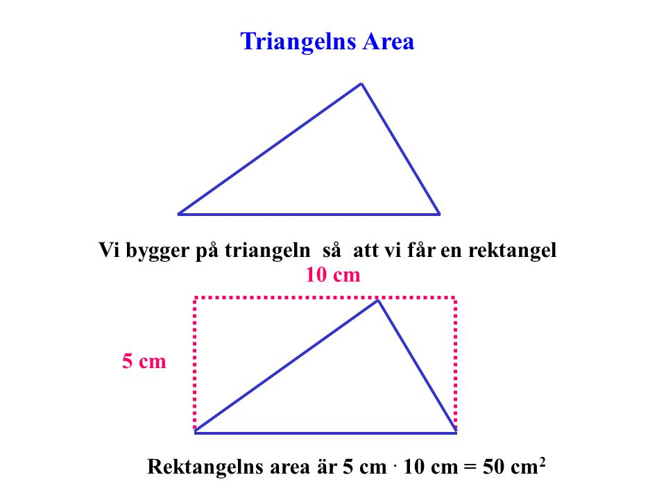 Triangelns Area Vi bygger på triangeln så att vi får en rektangel