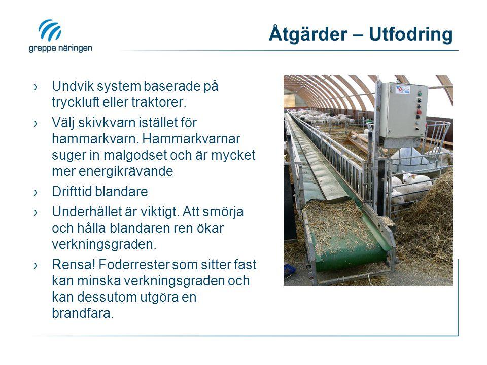 Åtgärder – Utfodring Undvik system baserade på tryckluft eller traktorer.