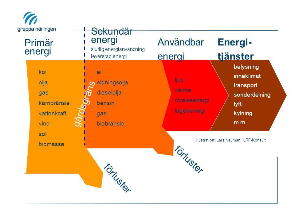Sekundär energi Primär energi Användbar energi Energi- tjänster