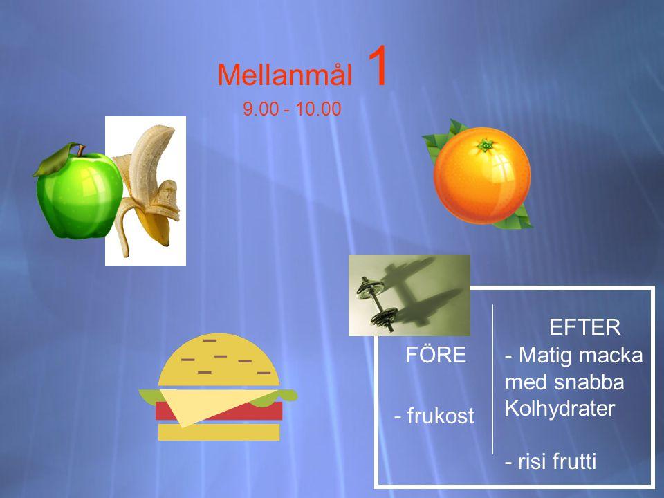 Mellanmål 1 EFTER FÖRE Matig macka med snabba Kolhydrater