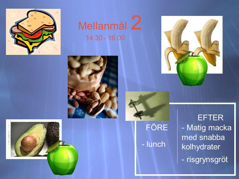 Mellanmål 2 EFTER FÖRE Matig macka med snabba kolhydrater - lunch
