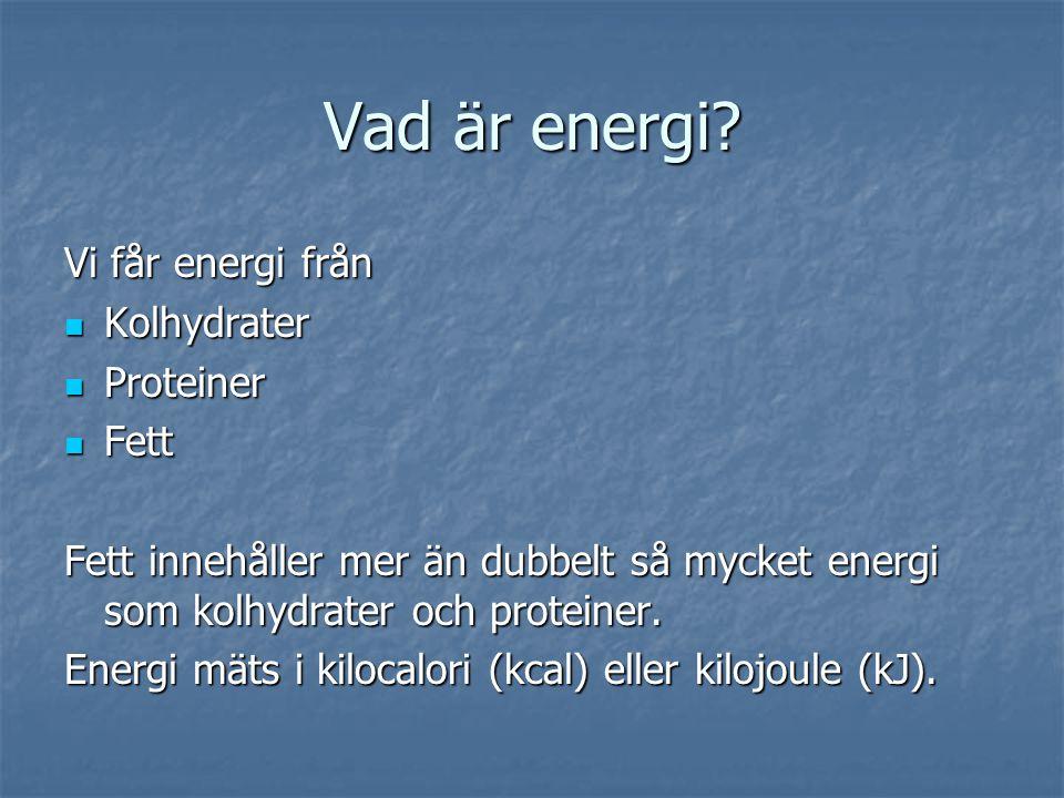Vad är energi Vi får energi från Kolhydrater Proteiner Fett