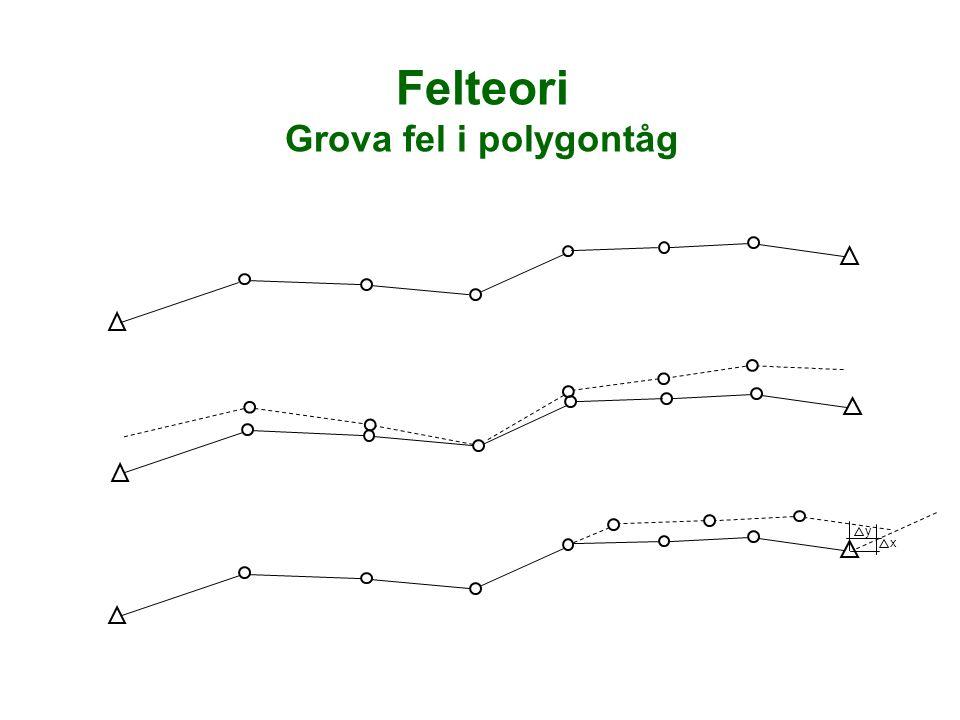 Felteori Grova fel i polygontåg y x