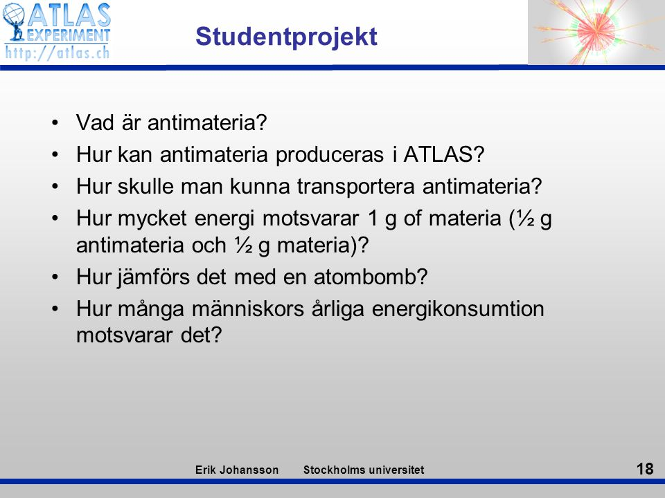 Studentprojekt Vad är antimateria