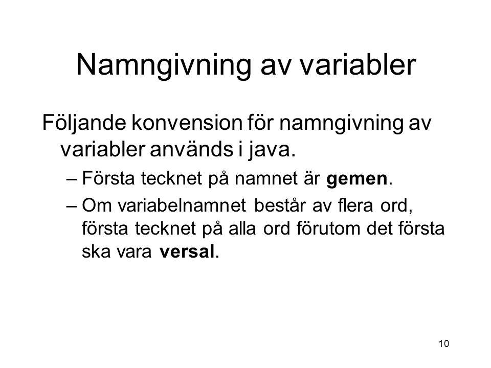 Namngivning av variabler