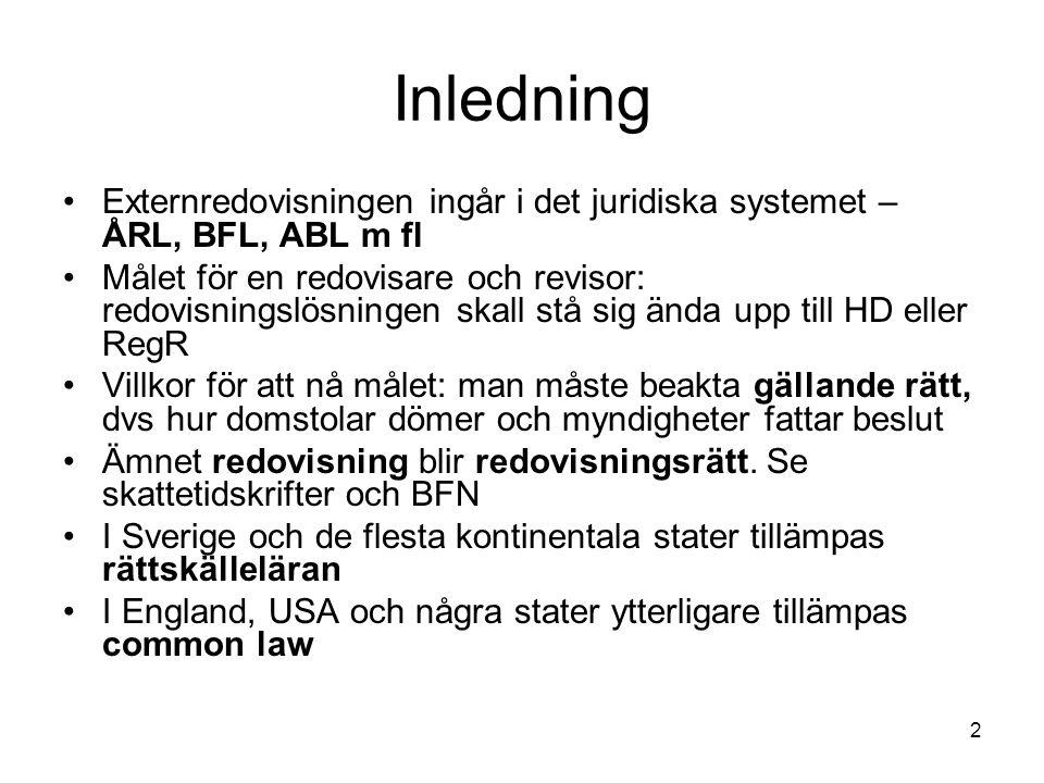 Inledning Externredovisningen ingår i det juridiska systemet – ÅRL, BFL, ABL m fl.