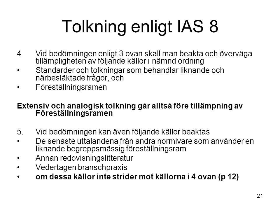 Tolkning enligt IAS 8 Vid bedömningen enligt 3 ovan skall man beakta och överväga tillämpligheten av följande källor i nämnd ordning.