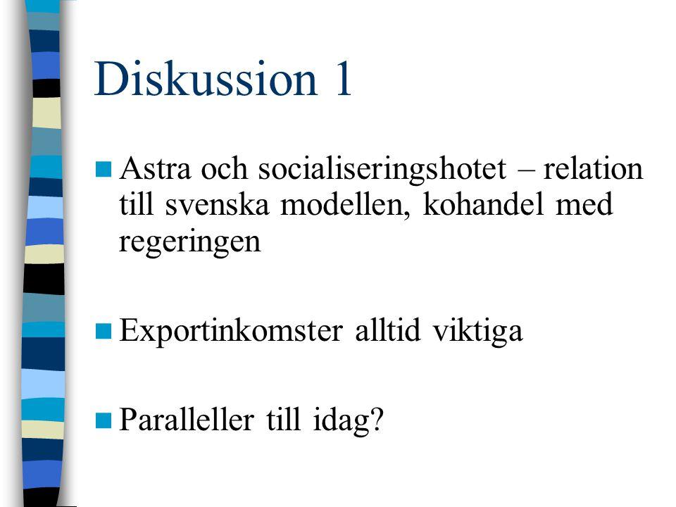 Diskussion 1 Astra och socialiseringshotet – relation till svenska modellen, kohandel med regeringen.