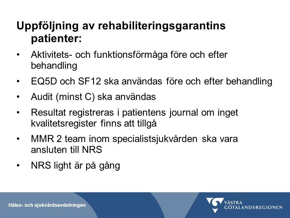 Uppföljning av rehabiliteringsgarantins patienter: