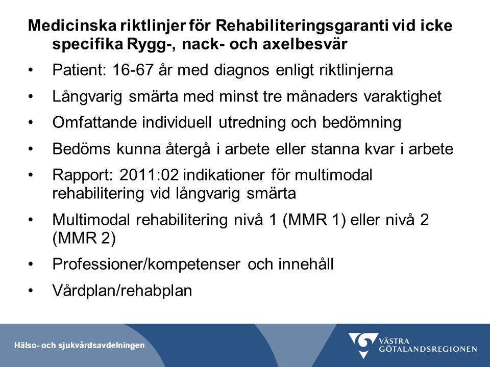 Patient: 16-67 år med diagnos enligt riktlinjerna