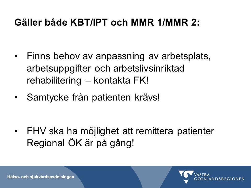 Gäller både KBT/IPT och MMR 1/MMR 2: