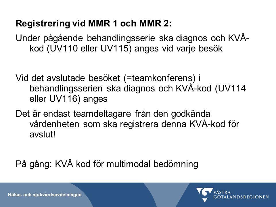 Registrering vid MMR 1 och MMR 2:
