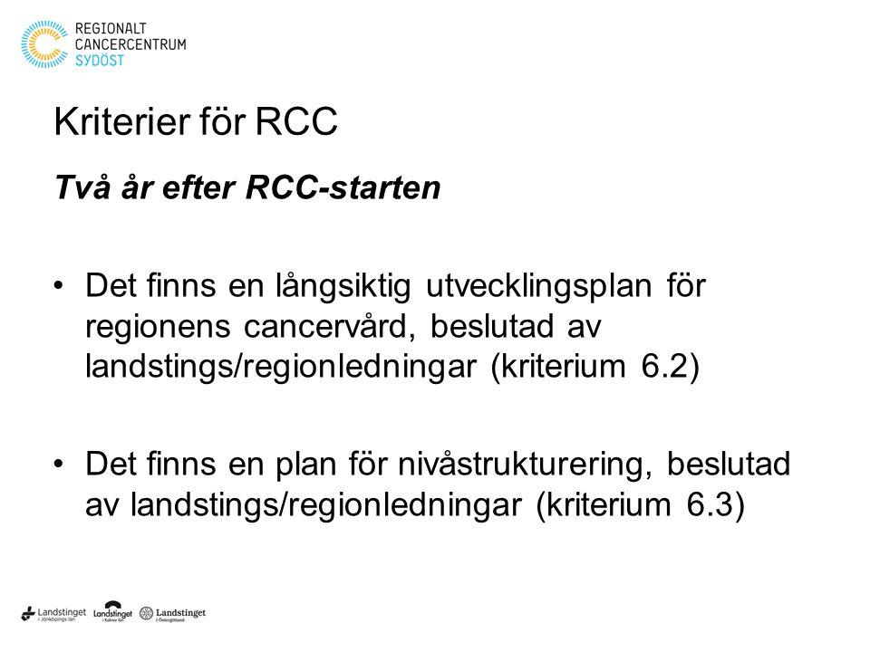 Kriterier för RCC Två år efter RCC-starten