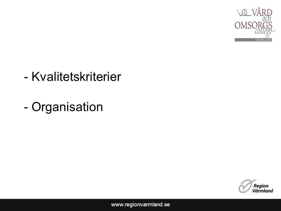 Kvalitetskriterier Organisation