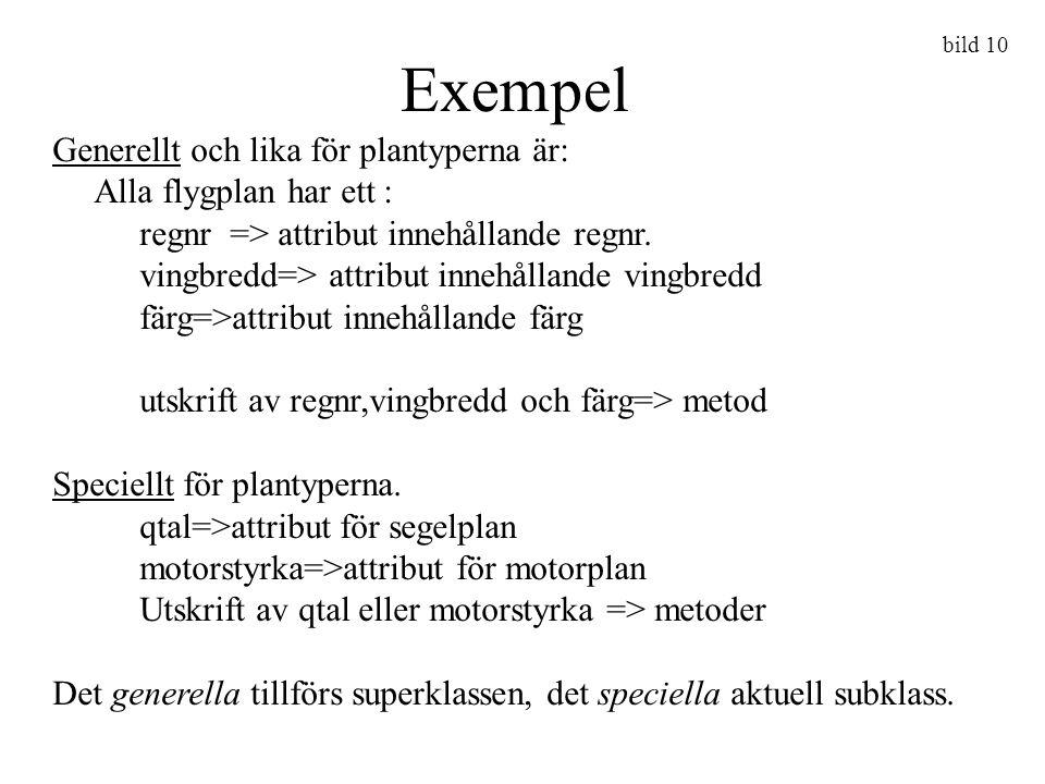 Exempel Generellt och lika för plantyperna är: Alla flygplan har ett :