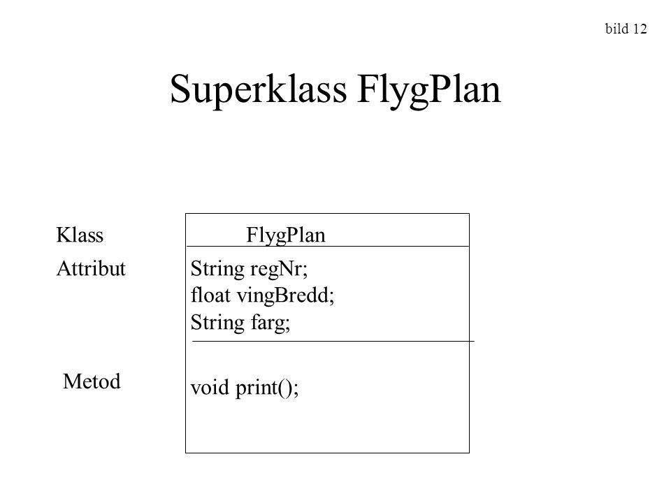 Superklass FlygPlan Klass FlygPlan Attribut String regNr;