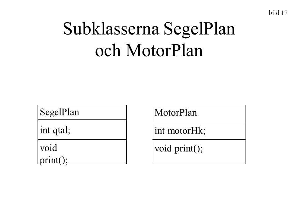 Subklasserna SegelPlan och MotorPlan