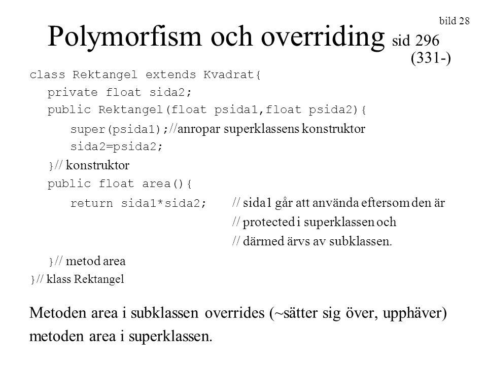 Polymorfism och overriding sid 296