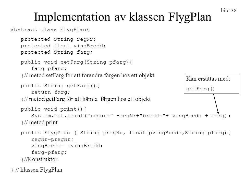 Implementation av klassen FlygPlan