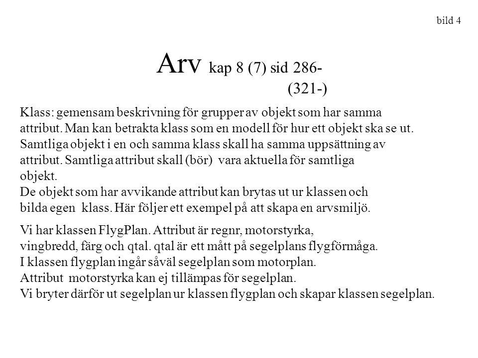 bild 4 Arv kap 8 (7) sid 286- (321-) Klass: gemensam beskrivning för grupper av objekt som har samma.