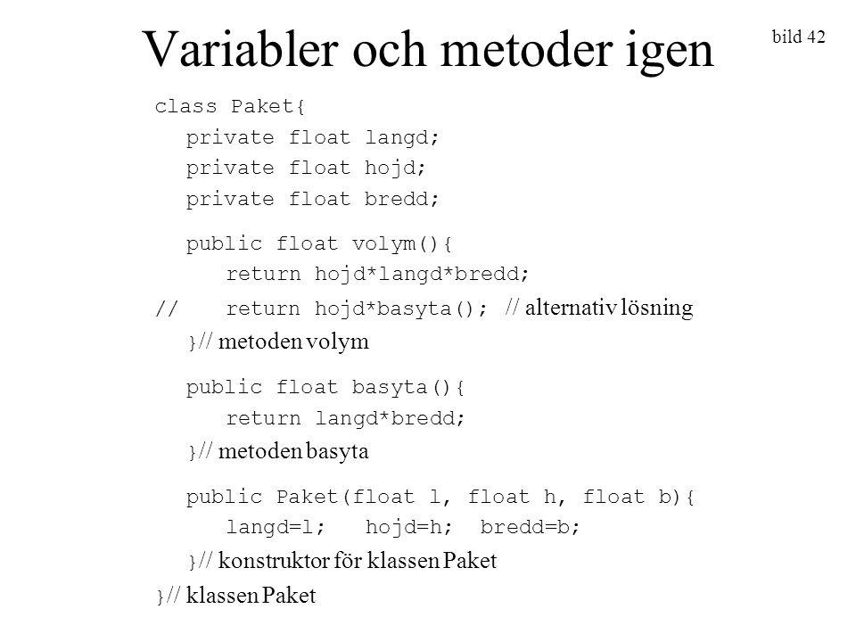 Variabler och metoder igen