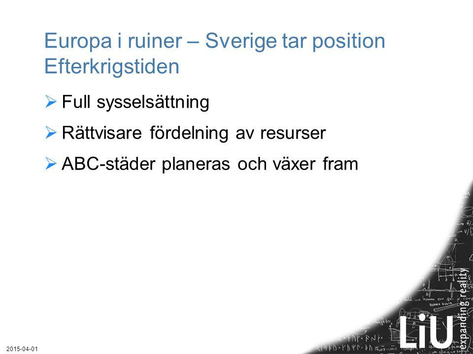 Europa i ruiner – Sverige tar position Efterkrigstiden