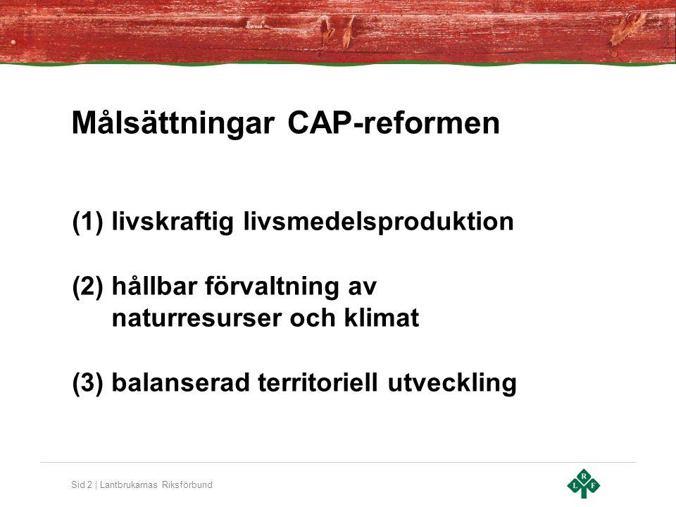 Målsättningar CAP-reformen
