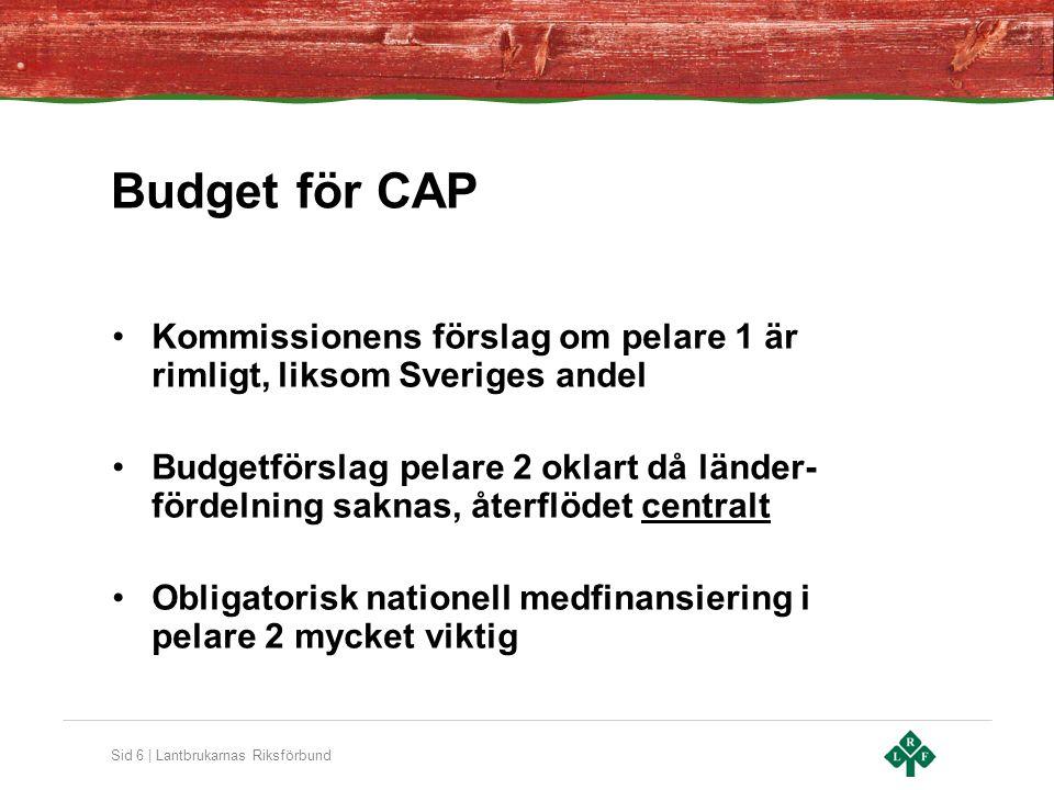 Budget för CAP Kommissionens förslag om pelare 1 är rimligt, liksom Sveriges andel.