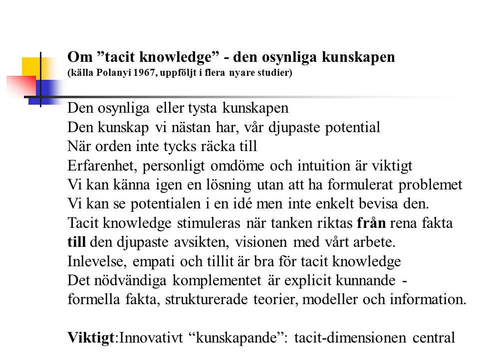 Om tacit knowledge - den osynliga kunskapen