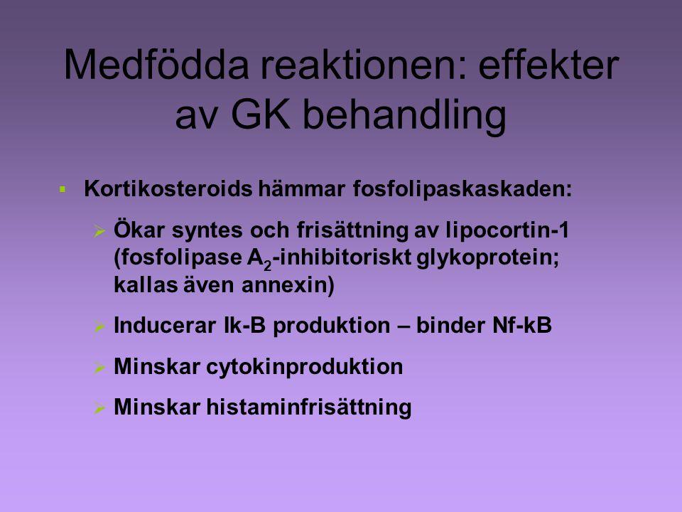 Medfödda reaktionen: effekter av GK behandling