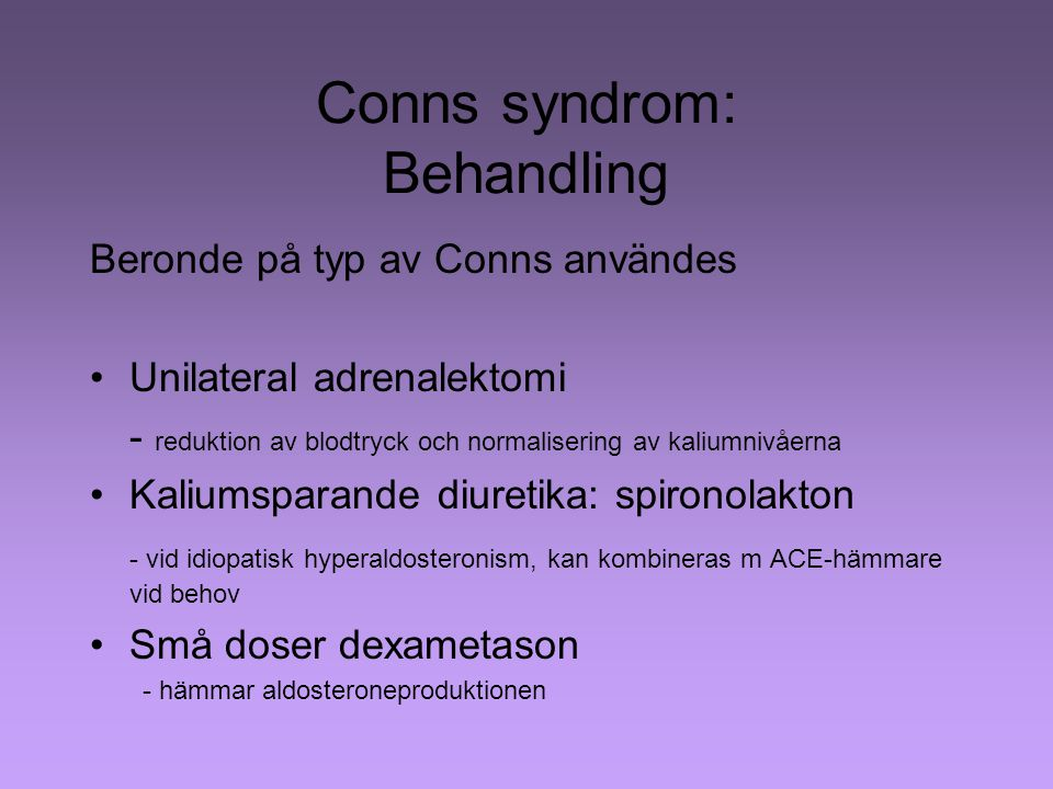 Conns syndrom: Behandling