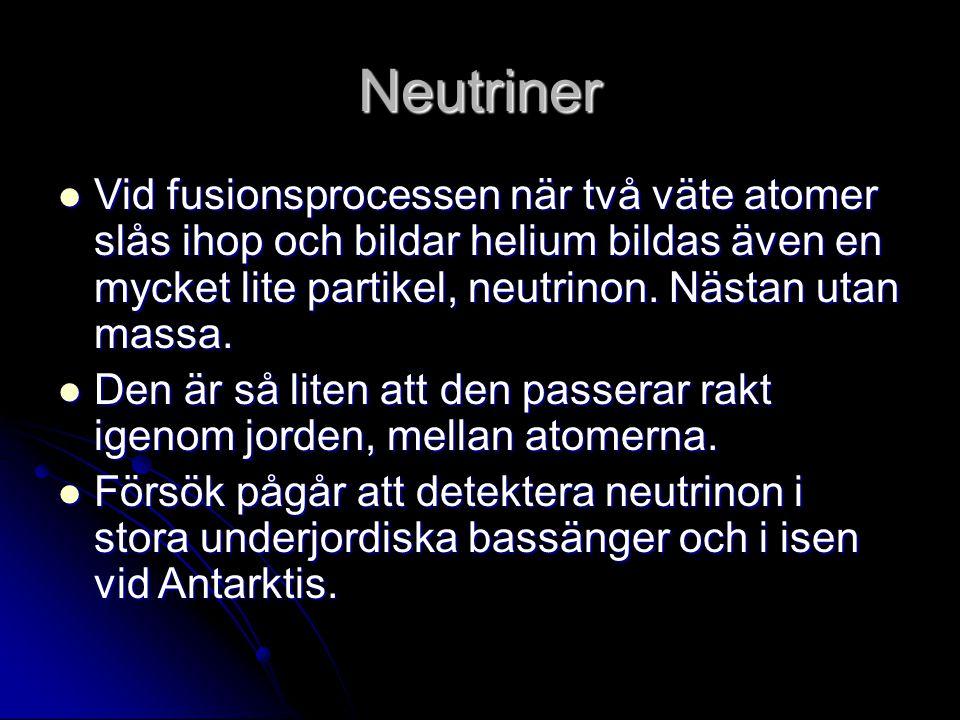 Neutriner Vid fusionsprocessen när två väte atomer slås ihop och bildar helium bildas även en mycket lite partikel, neutrinon. Nästan utan massa.
