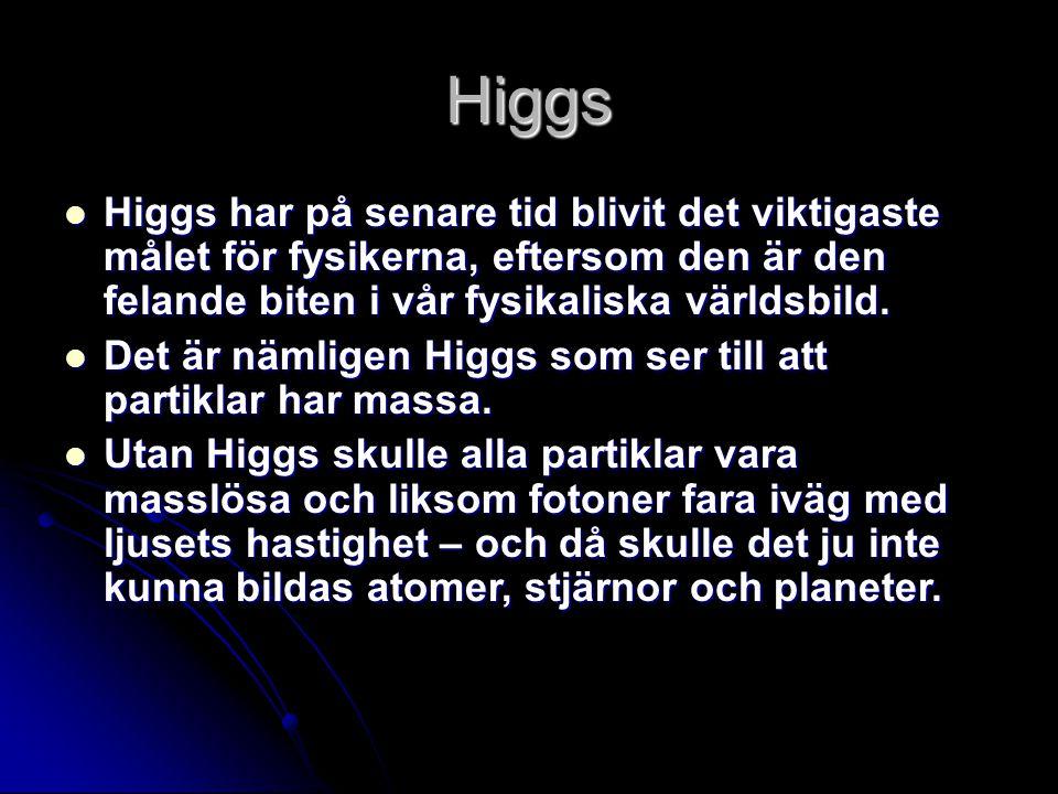 Higgs Higgs har på senare tid blivit det viktigaste målet för fysikerna, eftersom den är den felande biten i vår fysikaliska världsbild.