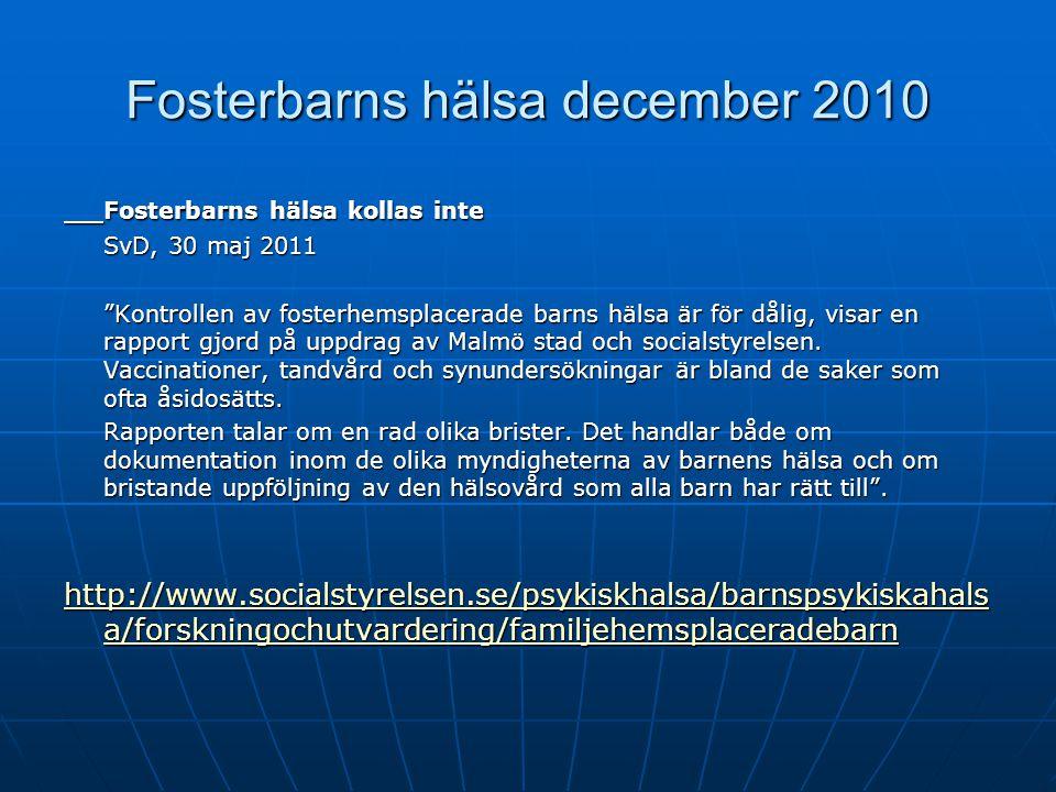 Fosterbarns hälsa december 2010