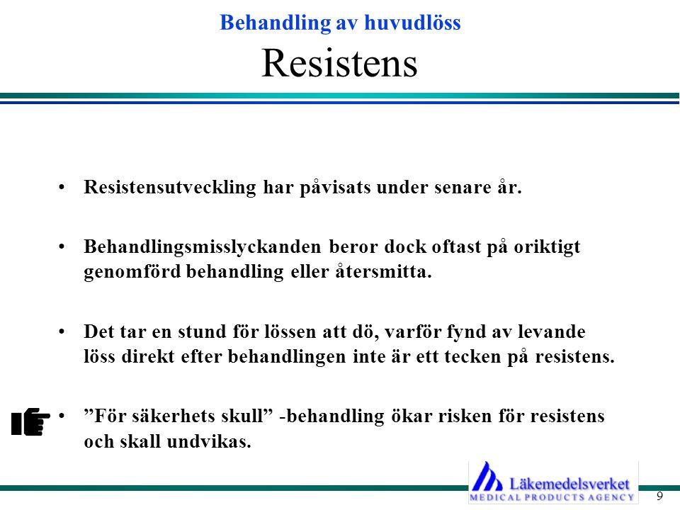 Resistens Resistensutveckling har påvisats under senare år.