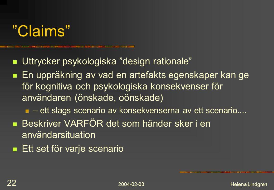 Claims Uttrycker psykologiska design rationale