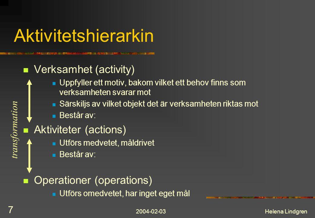 Aktivitetshierarkin Verksamhet (activity) Aktiviteter (actions)