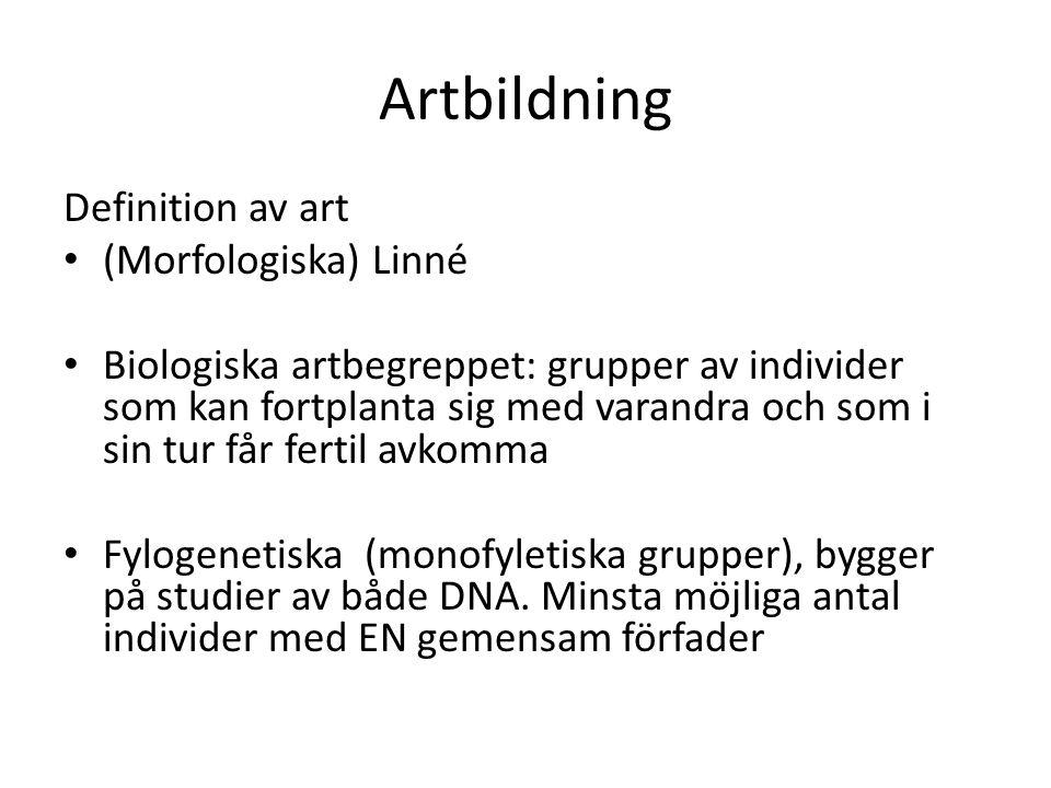 Artbildning Definition av art (Morfologiska) Linné