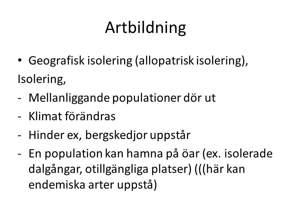 Artbildning Geografisk isolering (allopatrisk isolering), Isolering,