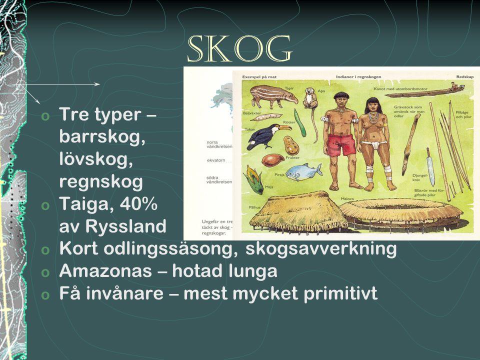 Skog Tre typer – barrskog, lövskog, regnskog Taiga, 40% av Ryssland