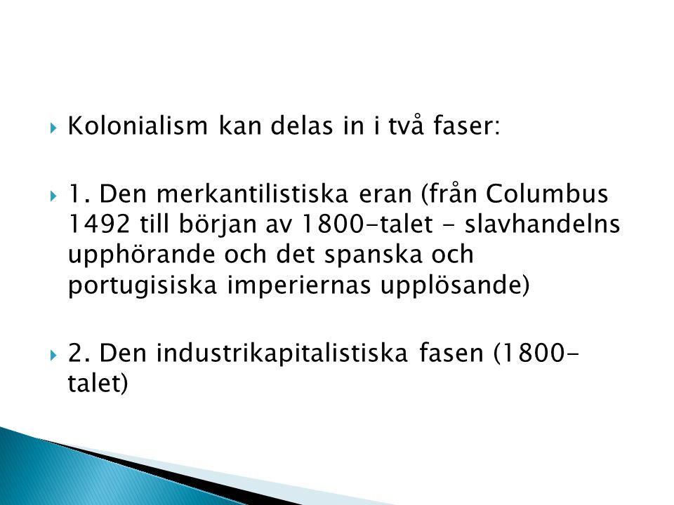 Kolonialism kan delas in i två faser: