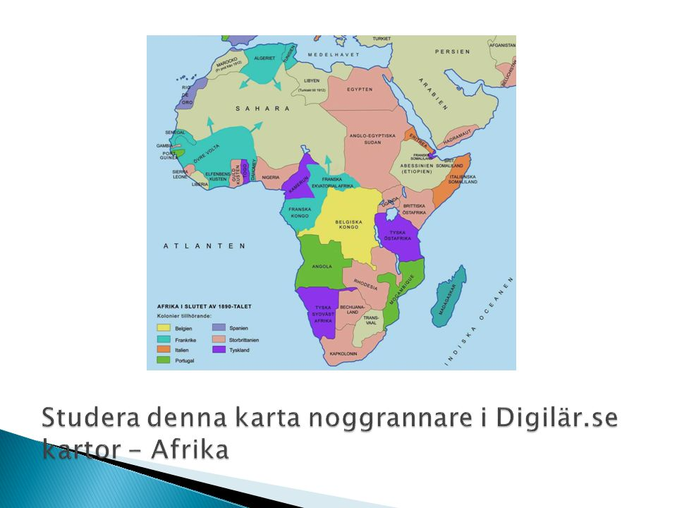 Studera denna karta noggrannare i Digilär.se kartor - Afrika