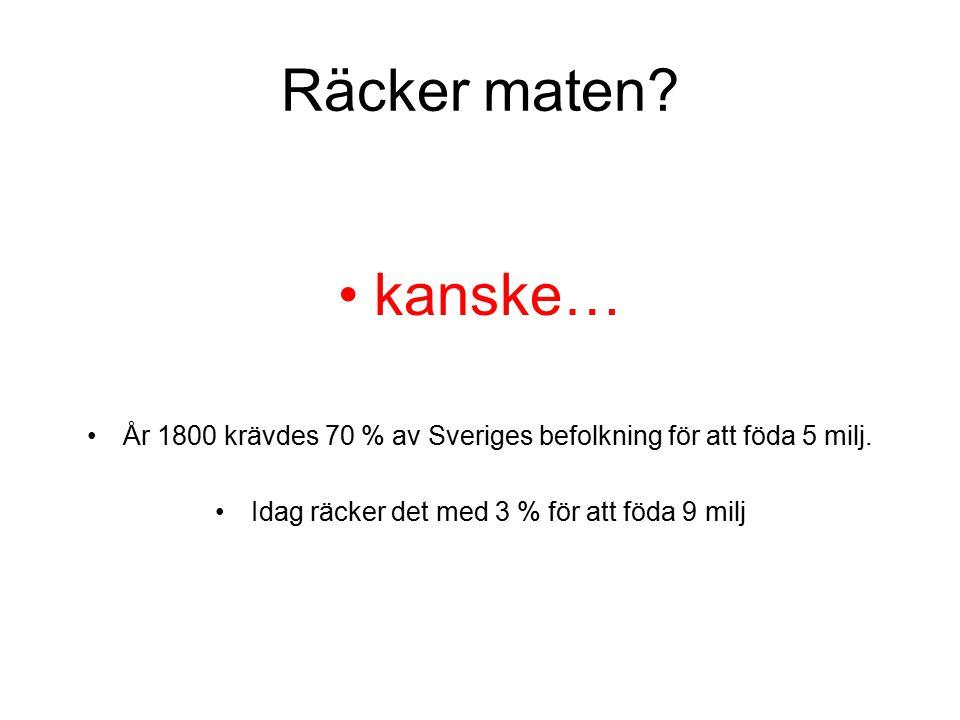 Räcker maten. kanske… År 1800 krävdes 70 % av Sveriges befolkning för att föda 5 milj.
